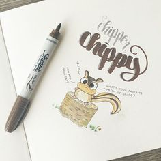This chipper chipmunk is excited to hear all about your day! 🐿   #calligraphy #calligrapher #calligraphynewbie #handlettering #handdrawntype #handlettered #childrensbook #lettered #chipmunk #animal #animallover #animalart #woodland #wildlife #wildlifephotography #chippy #characterdesign #characters #creature #friendly #excited #howareyou #kidsillustration #goodtype #dailysketch #brushlettering #furry #inkdrawing #watercolorpainting #sohappy