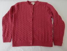 Appleseeds Cardigan Sweater Cable Knit Pink Red Cotton Petites PM Women's Chunky | eBay