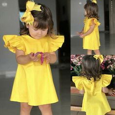 Girls Children's Clothing Dress Summer Infant Baby Girls Fly Sleeve Solid Bow Dress Clothes Girls Children's Clothing Dress Summer Infant Baby Girls Fly Sleeve Solid [. Little Girl Outfits, Little Girl Dresses, Kids Outfits, Girls Dresses, Loose Dresses, Summer Baby, Summer Kids, Baby Girl Fashion, Kids Fashion