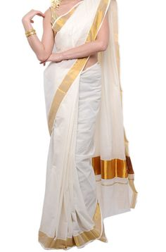 Kerala Kasavu Saree. A must for all Occasions of festivals and functions, gives a very traditional look when worn. Fabric : made up of fine cotton. Colour : off white.