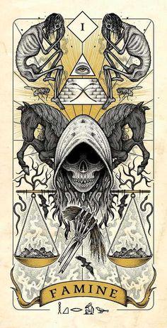 Four Horsemen of Apocalypse Tarot Cards Artwork Released in Higher Quality. – X-Men Films Arte Horror, Horror Art, Dark Fantasy Art, Dark Art, Apocalypse Art, Satanic Art, Occult Art, Skull Art, Illustration