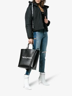 Off-White Black Sculpture large leather tote bag
