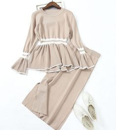 49d09b9a3127 Autumn Women Knit Clothing Set Ladies Pullover Ruffles Sweater Coat +  Knitted Package Hip Slit Skirts Suit Students 2 Piece-in Women s Sets from  Women s ...