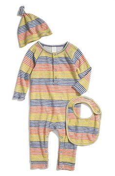 "Stem Baby Organic Cotton Romper, Cap & Bib (Baby Boys) available at #Nordstrom  SInce I am obsessing over a ""going home"" outfit, I think I may land on this..."
