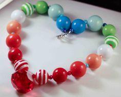 Red Rainbow Chunky Necklace Birthday  Dress Up by ittybittylydi, $21.99