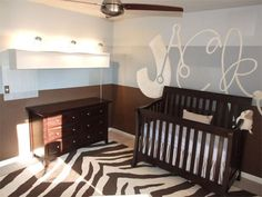Blue and Brown Nursery, LOVE the name on the wall!