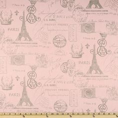 French script home decor fabric