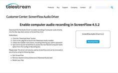 Driver para que Screenflow permita grabar el audio del escritorio. Esto es para versiones 4.5.2 e inferiores ( la mía la 4.0): http://dynamic.telestream.net/downloads/download-screenflow-audio.asp ... Use este instalador externo porque el interno de mi programa no hacia bien la instalación, dado que actualice el SO del 'Mountain Lion' a 'El Capitan'. De este modo funciona bien.