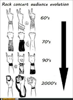 The evolution of rocking out at concerts. #music #humor