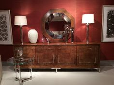 Spotted at Bernhardt Furniture Cark Carmel, white ash burl console with polished stainless inlay and base.  Exquisite and luxurious details! Bernhardt Furniture IHFC D601