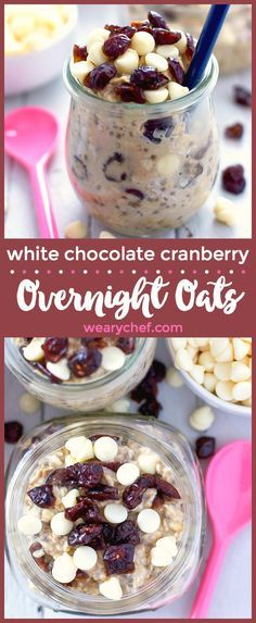prep overnight oats recipe is brimming with white chocolate and cranberry flavor. Perfect for a grab and go breakfast!This prep overnight oats recipe is brimming with white chocolate and cranberry flavor. Perfect for a grab and go breakfast! Healthy Recipes, Gourmet Recipes, Skinny Recipes, Healthy Eats, Brunch Recipes, Breakfast Recipes, Breakfast Ideas, Breakfast Bowls, Breakfast Time