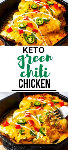 Keto Green Chili Chicken is an easy recipe I turn to over and over. Smoky chicken covered in a green chili cream cheese sauce and topped with cheese is simple to make and a crowd-pleasing dish that everyone loves. This low carb casserole is perfect for busy weeknights. Baked Chicken Recipes, Crockpot Recipes, Keto Recipes, New Easy Recipe, Green Chili Chicken, Keto Fried Chicken, Sugar Free Recipes, Cheese Sauce, Casserole Recipes