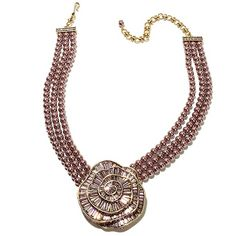 "Heidi Daus ""Baguette Rose"" 3-Row Beaded Drop Necklace"