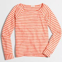 J. Crew Long-Sleeve Flip- Striped Tee Color: Apricot Mist.                                                          Cotton/poly. Machine wash. Factory Brand.                                                                                #27 J. Crew Tops