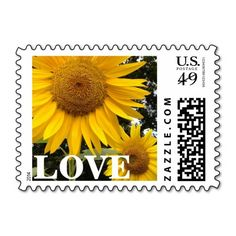 These sunny, golden #yellow #sunflower #love #postage #stamps brighten up any correspondence, but they are especially pretty when used to send #wedding, #bridal #shower, engagement party, vow renewal, or anniversary #invitations, #announcements, save the dates, RSVPs, and thank you notes. Available in horizontal or vertical design format, and fully customizable /personalizable (simply add your own names, dates, and/or phrase, etc when ordering). #postal #sunflowerstamps