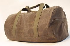 The Duffel Bag waxed canvas rugged sturdy brown by EbbandFlowBags