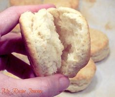 """Easy Biscuits Recipe - Food.com - 135930 -- made without shortening: 2 c flour, 3 tsp baking powder, 2 T sugar, 1 tsp salt, 1/3 c oil, 2/3 c milk. Mix dry ingredients, then wet. Form ball. Roll out between 2 sheets of plastic wrap until dough is 1/2"""" thick. Cut into 2"""" biscuits. Bake at 475 degrees for 10-12 mins until lightly brown."""