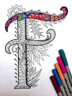 8.5x11 PDF coloring page of the uppercase letter F - inspired by the font Harrington Fun for all ages. Relieve stress, or just relax and have fun