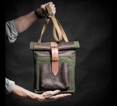 Mens Shoulder Bags – Canvas and leather backpack with vintage elements – a unique product by Made-4-Friends on DaWanda