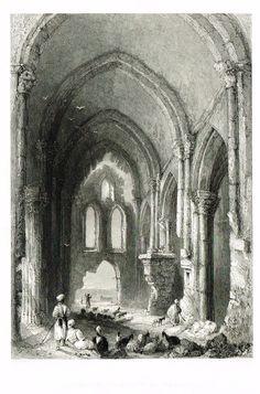 "Bartlett's """"CHRISTIAN CHURCH AT TORTOSA"""" - SYRIA - Steel Engraving - 1836"