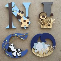 Baby letters, nursery letters, wood letters, wood initials, girl nursery th Animal Letters, Baby Letters, Nursery Letters, Wood Letters, Jungle Theme Birthday, Safari Theme, Boy Birthday, Boys Room Decor, Nursery Decor
