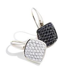 Boucles d'oreilles Cardinale Vhernier diamant noir blanc serti 2 grains