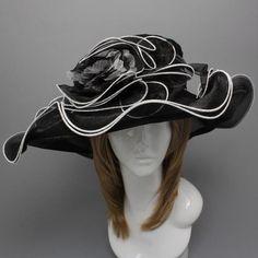 Church Kentucky Derby Dress White Trim Black Hat Wide Brim Wedding Tea Party | eBay