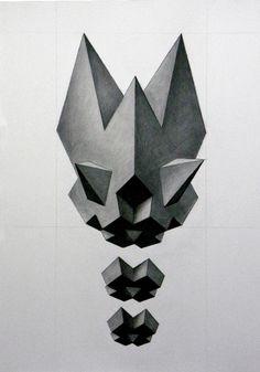 Polyhedra Warp drawings by Aleksandar Bezinovic, via Behance