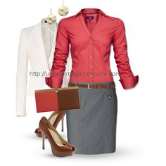it is a good work outfit the skirt very professional coat same thing then the red button up shirt gives a bit edge that i love purse red and brown to match the shoes and shirt love and the shoes i love them cute i like this outfit it is cute