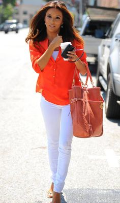 White pants red sheer blouse