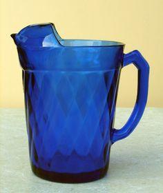 """Diamond Optic"" Ice Lip Pitcher Cobalt Blue Depression Glass   LOVE THE COLOUR"