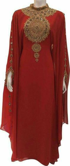 Fancy New Jalabiya Jilbab Georgette Moroccan Caftan Wedding Gown Modern Dress Islamic Fashion, Muslim Fashion, Modest Fashion, Hijab Fashion, African Dress, Indian Dresses, Beautiful Gowns, Beautiful Outfits, African Fashion