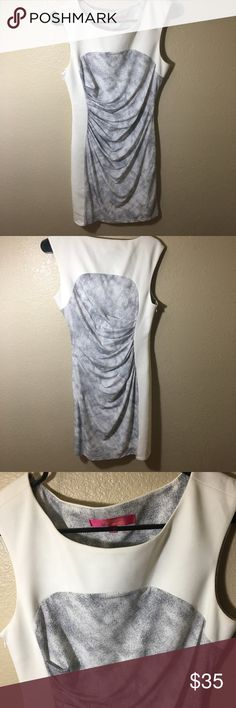 Catherine Malandrino white/Gray sheath dress 8 Catherine Malandrino White/Gray sleeveless sheath dress Size 8  Great condition - good for work/professional but fun dress!   Measurements upon request! Happy Poshing. Catherine Malandrino Dresses