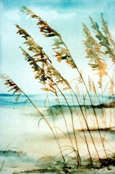 Helen Hickey watercolor with beach grass, sand, ocean Beach Watercolor, Watercolor Pictures, Watercolor Landscape, Watercolour Painting, Watercolor Flowers, Landscape Paintings, Watercolor Portraits, Abstract Paintings, Watercolours
