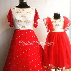 Mom Daughter Matching Outfits, Mommy Daughter Dresses, Mom And Baby Dresses, Kids Party Wear Dresses, Mother Daughter Fashion, Dresses Kids Girl, Girls Frock Design, Long Dress Design, Long Gown Dress