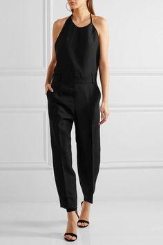Topshop Unique - Saunderson Wool-canvas Halterneck Jumpsuit - Black - UK6