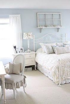 Light blue bedroom walls, white furniture. French Larkspur's blog, I think.                                                                                                                                                     More