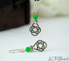 Pure Silver Celtic Knot Earrings With Green Agate by NMBeadsJewelry