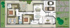 Planta de casa com suite e closet. Planta para terreno 12x30