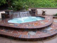 Inground Hot Tub With Waterfall