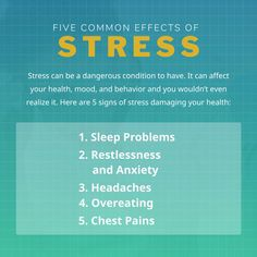 Five Common Effects of Stress Fight stress and experience a more positive outlook and healthier life. Signs Of Stress, Effects Of Stress, Sleep Problems, Positive Outlook, Healthy Life, Behavior, Anxiety, Conditioner, Positivity
