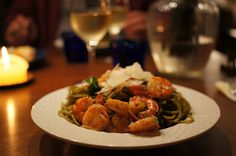Jumbo shrimp pasta with homemade pesto