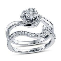 New Classy Round Sim. Diamond 14K White Gold Gp in 925 Silver Promise Bridal Set
