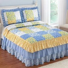 Buy Collections Etc Andrea Blue Yellow and White Floral Patchwork Ruffle Skirt Lightweight Bedspread, King Ruffle Bedspread, Yellow Bedspread, Yellow Quilts, Ruffle Skirt, Ruffles, Quilt Bedding, Bedding Sets, Bed Cover Design, Collections Etc