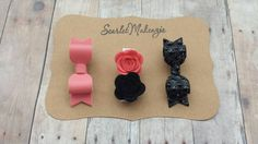 Felt Flower Set, Faux Leather Bow, Coral Bow, Baby Headband, Baby Shower Gift, Leather Bow Clip, Felt Flower Garland, Coral Black Bow Set by ScarletMakenzie on Etsy