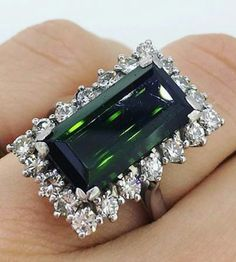 Vintage 6.70ct approximately Green Tourmaline surrounded with diamonds @Gemroad