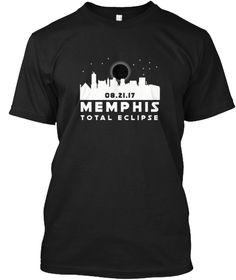 Memphis Total Solar Eclipse Tshirt Black T-Shirt Front