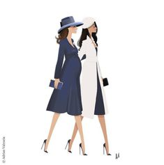 Adrian Valencia is a super talented illustrator who drew this fabulous artwork representing the Duchess of Cambridge and Meghan Markle walking together at Westminster Abbey