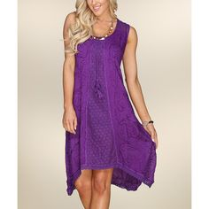 Ananda's Collection Purple Abstract Handkerchief-Hem Dress (27 CAD) ❤ liked on Polyvore featuring dresses, plus size, plus size dresses, long dresses, handkerchief dress, long handkerchief dress and plus size purple dress