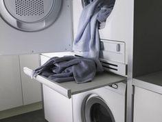 good idea for small laundry closet Laundry Room Shelves, Laundry Room Remodel, Laundry Room Bathroom, Small Laundry Rooms, Laundry Room Design, Laundry Table, Laundry Room Ideas Stacked, Laundry Basket, Hidden Laundry